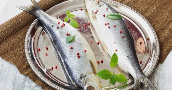 salted herring with spices in an iron dish on a wooden table. healthy sea food