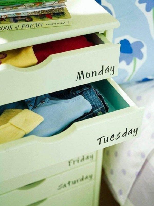 шкафчики для одежды на каждый день недели