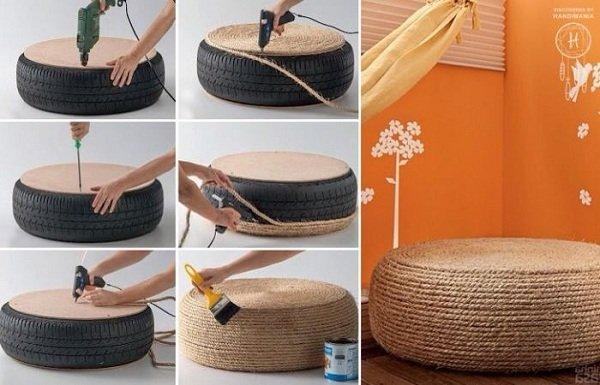 Как из шины сделать пуфик