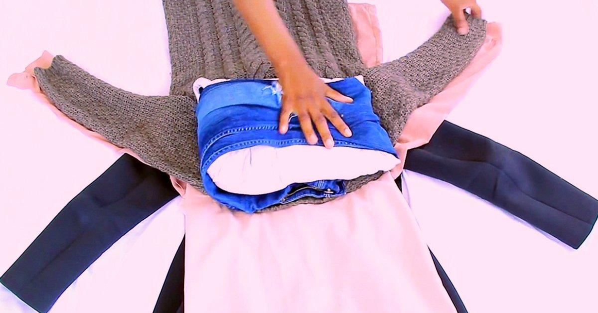 Уникальный лайфхак: как быстро упаковать вещи в чемодан.