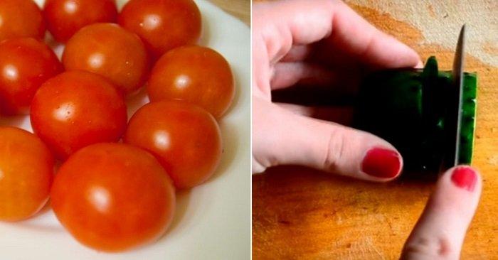 как красиво нарезать овощи в салат