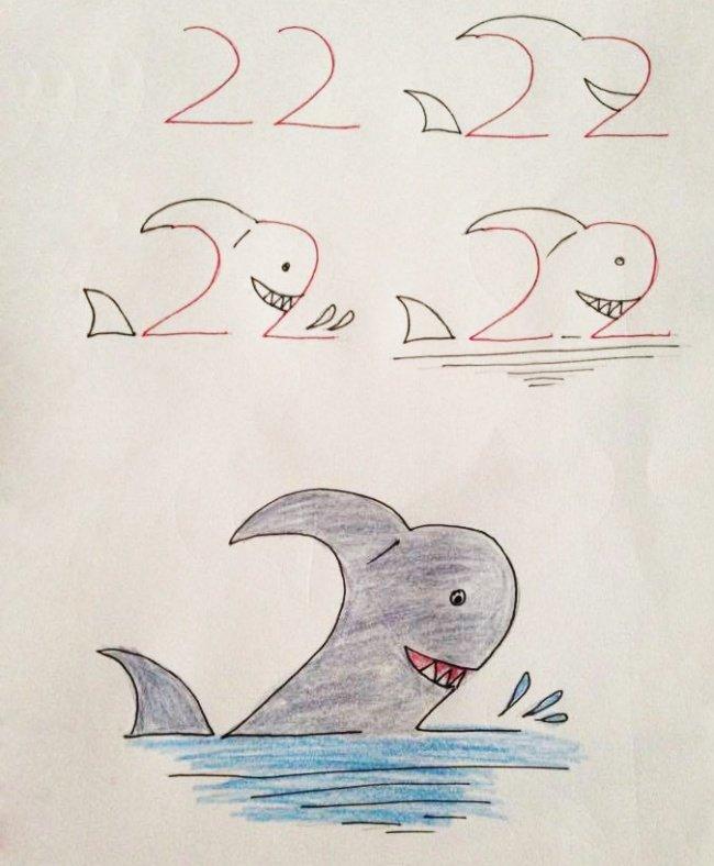 рисуем акулу