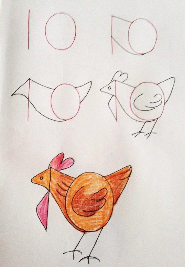 рисуем курочку рябу