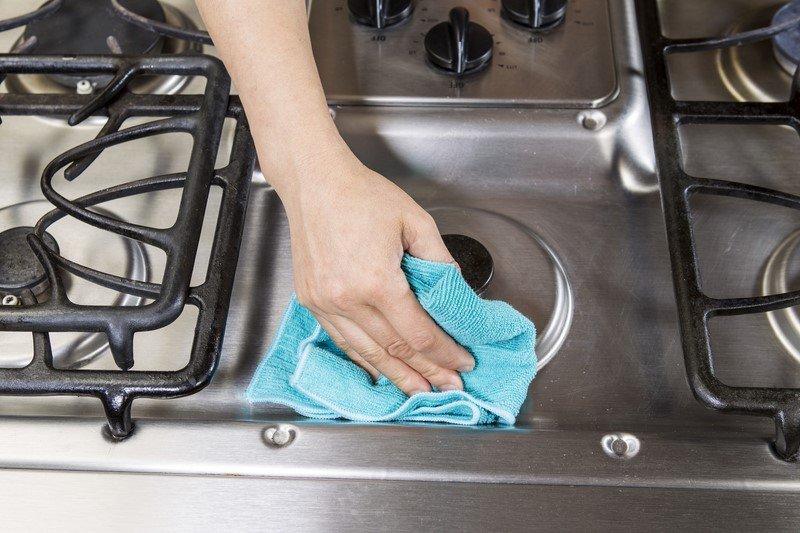 как отмыть плиту без химии