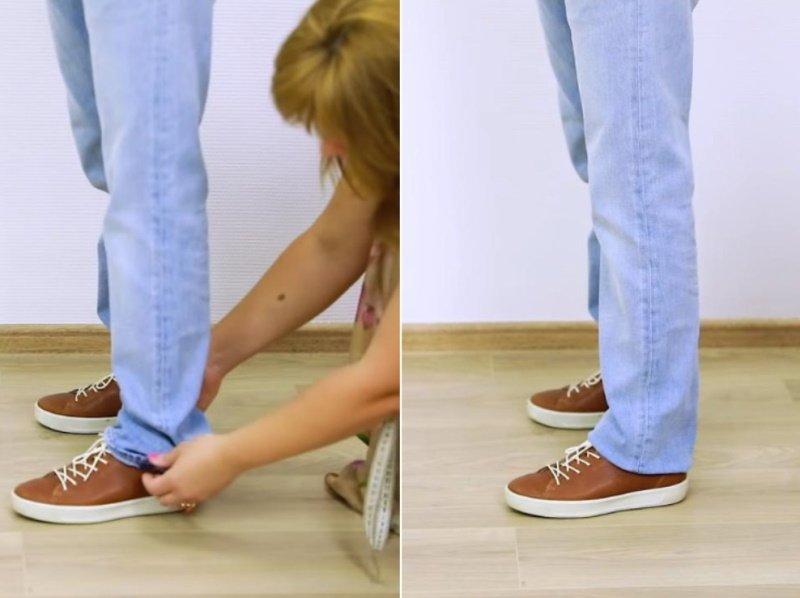 как подшить джинсы снизу