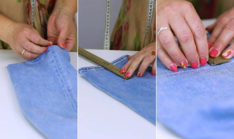 как аккуратно подшить джинсы