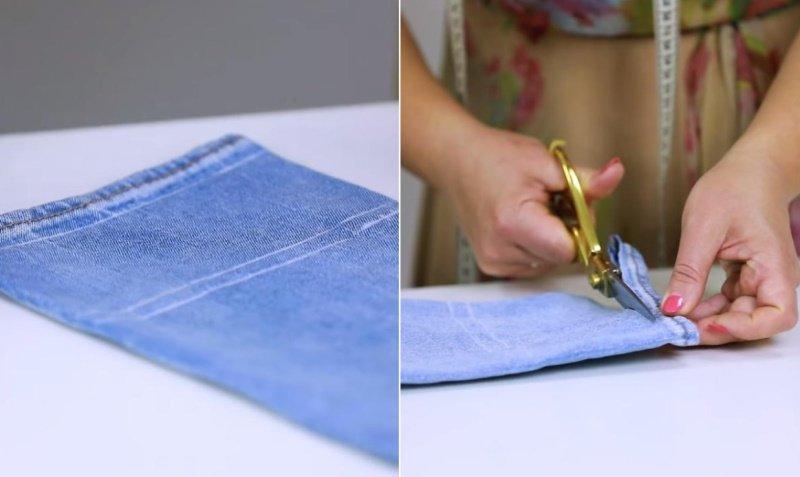 как подшить длинные джинсы