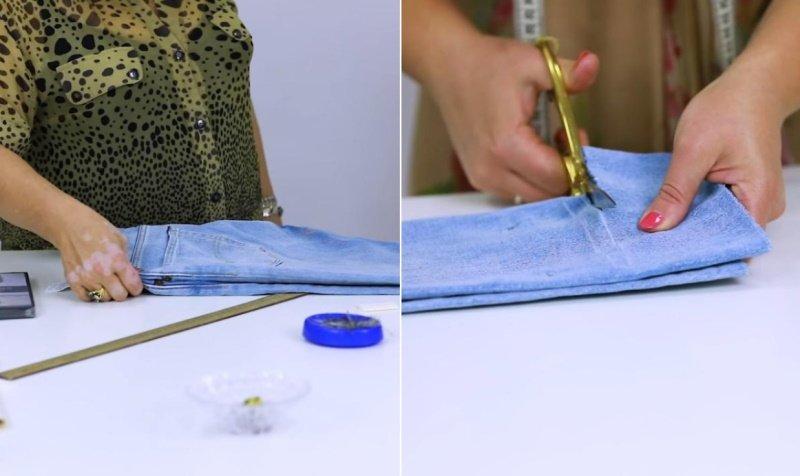 как подшить детские джинсы