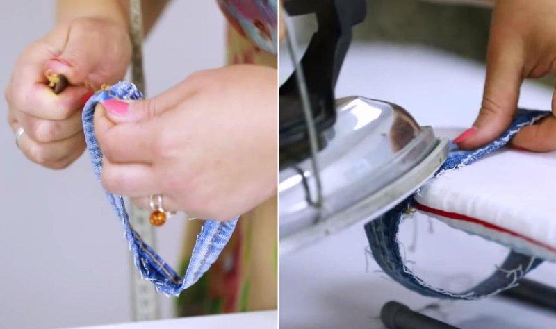 как укоротить джинсы дома