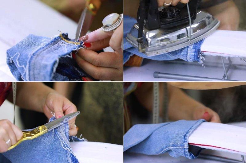как подшить женские джинсы