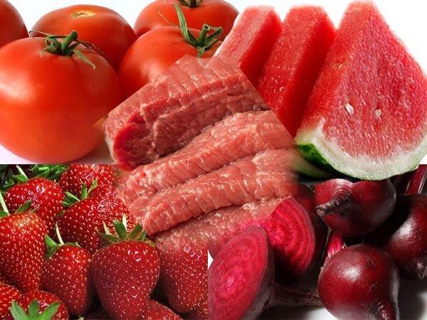 продукты питания красного цвета