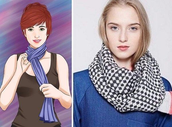 как завязать шарф на голову и шею зимой