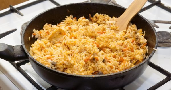 Full pan of pilaf stands at the plate