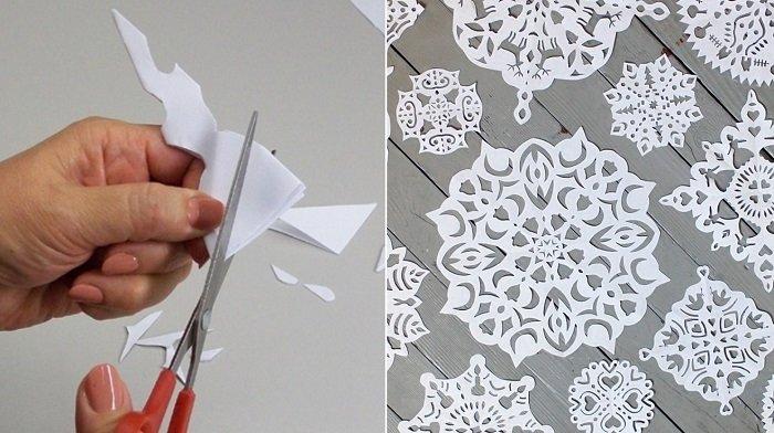 бумажные снежинки схемы