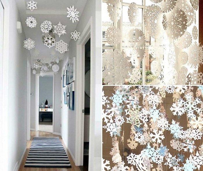 бумажные снежинки из полосок