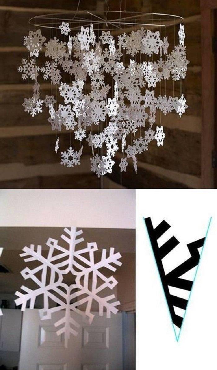 как изготовить бумажные снежинки