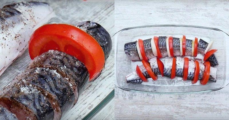 скумбрия кусочками запеченная в духовке с помидорами