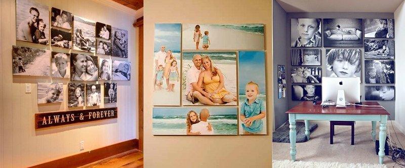 как разместить фотографии на стене