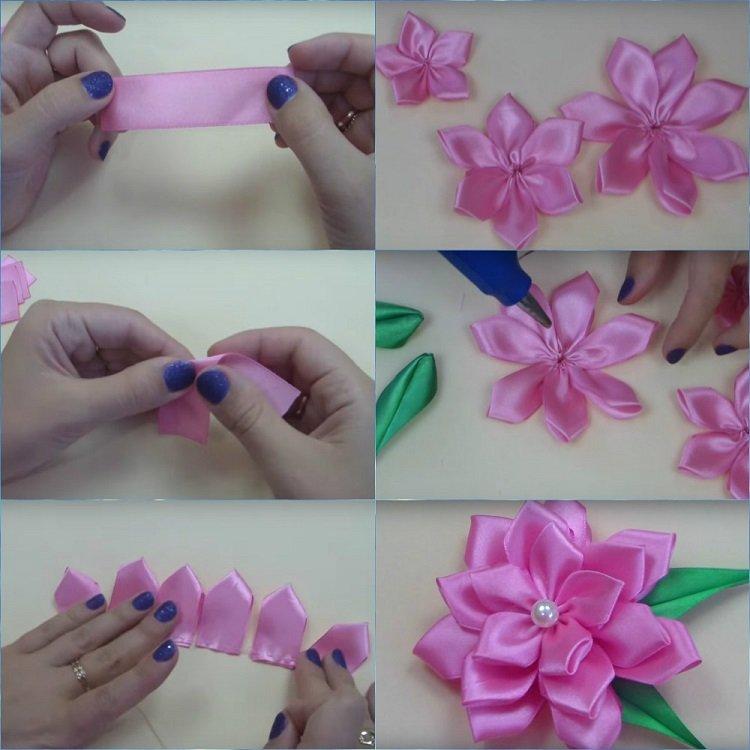 Сделать цветы из атласных лент 27