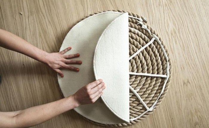 как сделать ковер из веревки