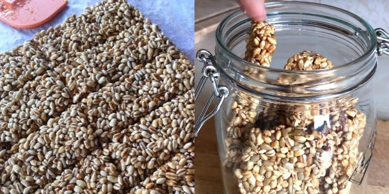 Как приготовить козинаки из перловой крупы Кулинария,Десерты,Крупа,Мёд,Сахар,Сладости