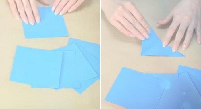 как сделать снежинку из салфетки видео