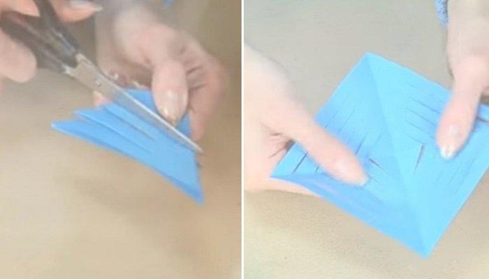 как сделать снежинку из бумаги поэтапно