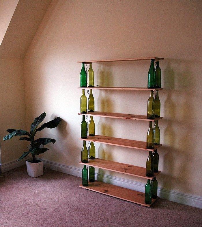 поделки из стеклянных бутылок для дачи