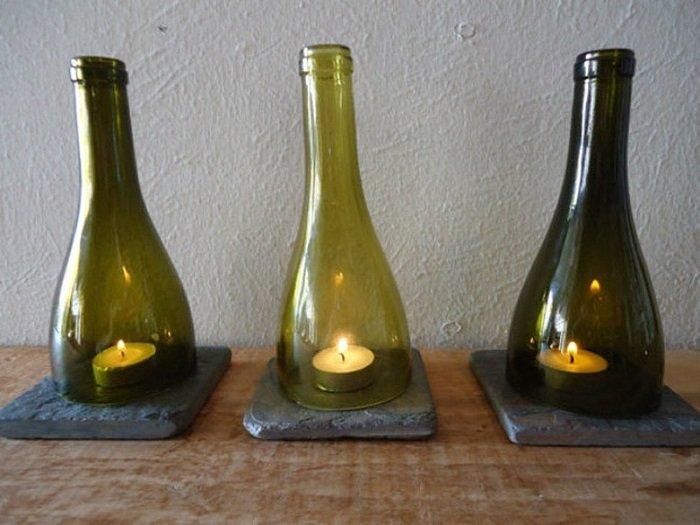 поделки из стеклянных бутылок и банок