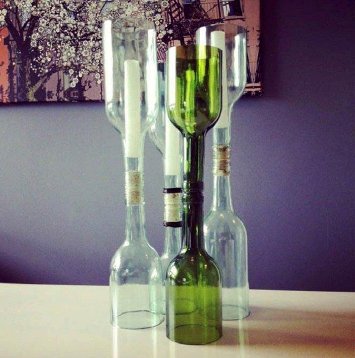 поделки из стеклянных бутылок вазы