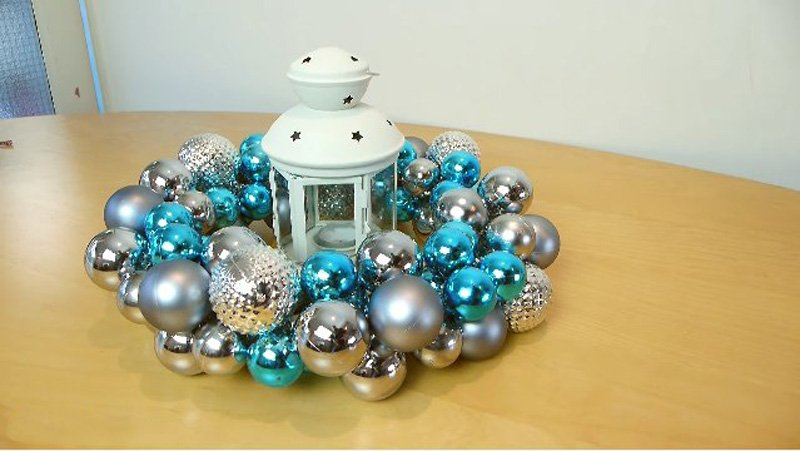 рождественский венок на стол своими руками