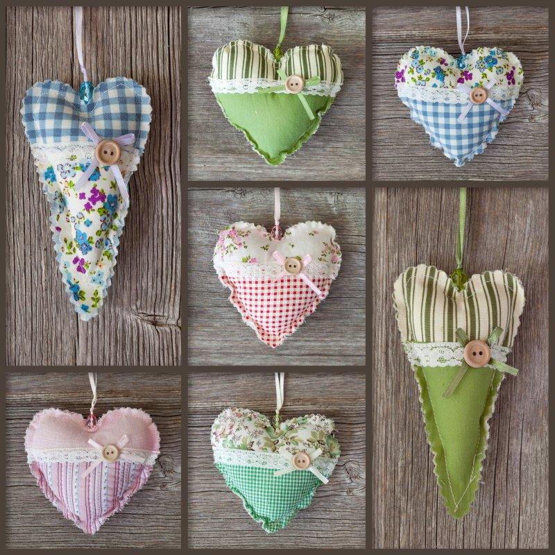 сердечки из ткани ко дню святого валентина