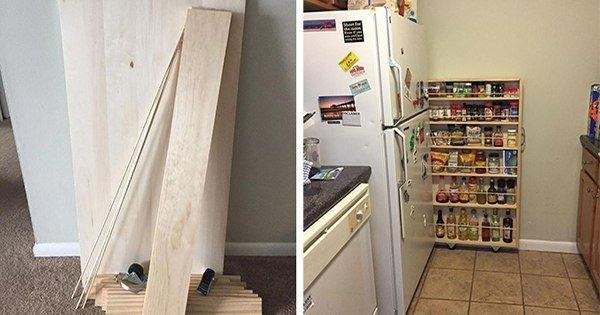 Гениальное решение для экономии места: выдвижная этажерка своими руками.