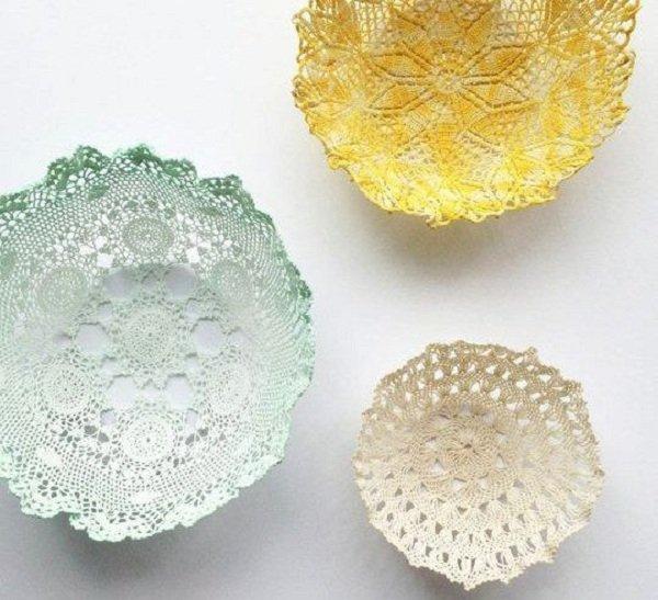 чаши из кружевных салфеток