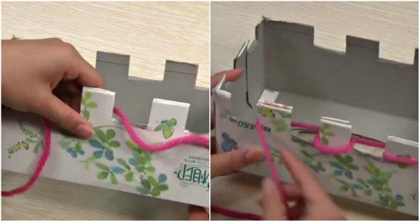 вязание на коробке