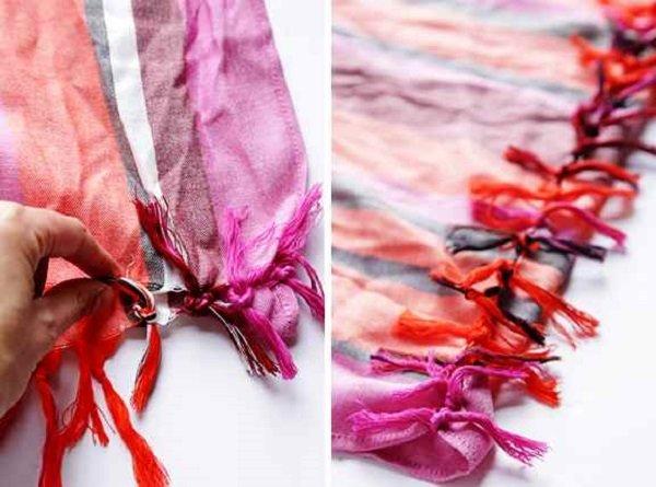 как связать шарф руками