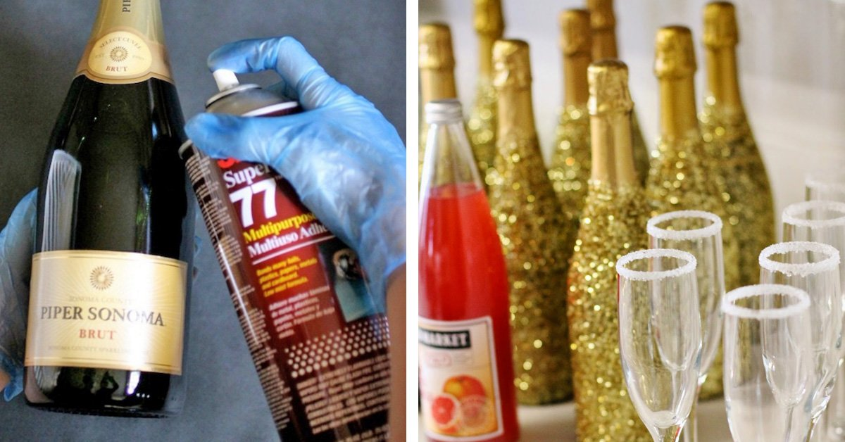 Как украсить шампанское на Новый год. Я влюбился в эту идею с первого взгляда!