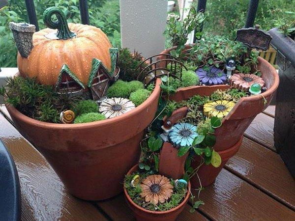 декор цветочных горшков для сада