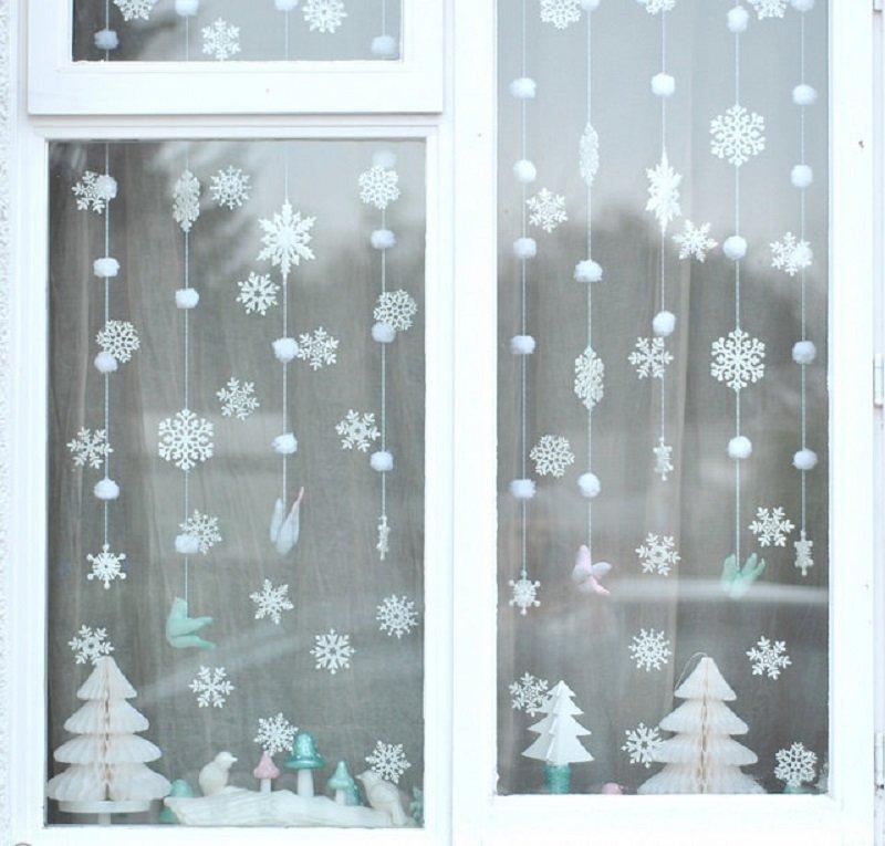 Новогодние украшения своими руками фото на окна