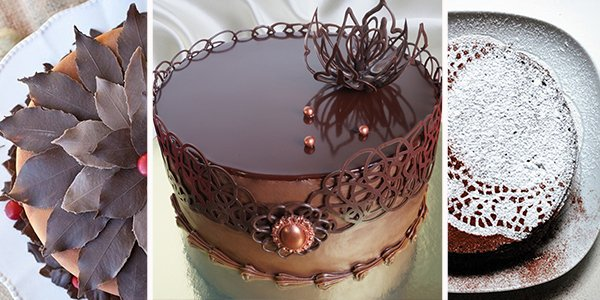 Как сделать шоколадный узор на торте 228