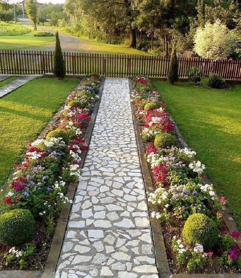 фото садовых дорожек и цветочных клумб камбала