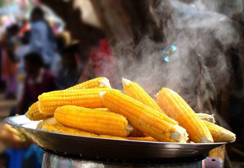 вареная в початках кукуруза