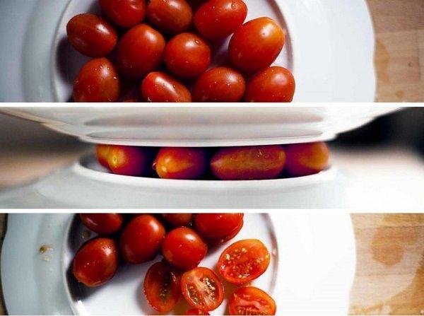 как разрезать помидоры