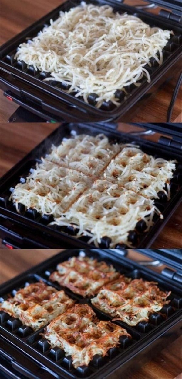 hashbrowns in the waffle iron
