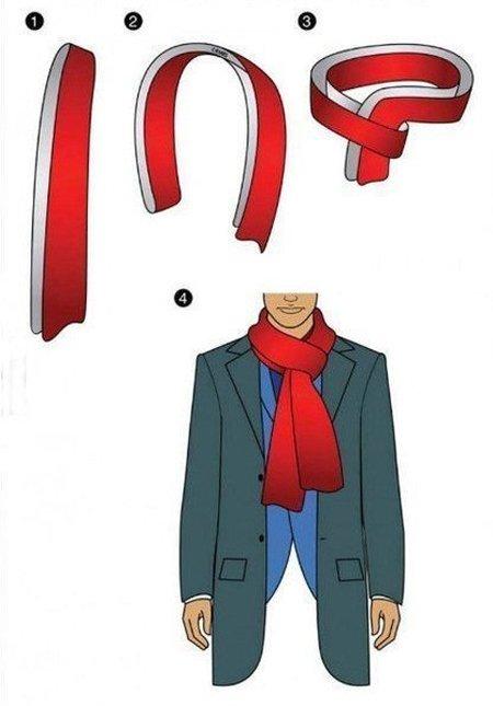 завязать мужской шарф