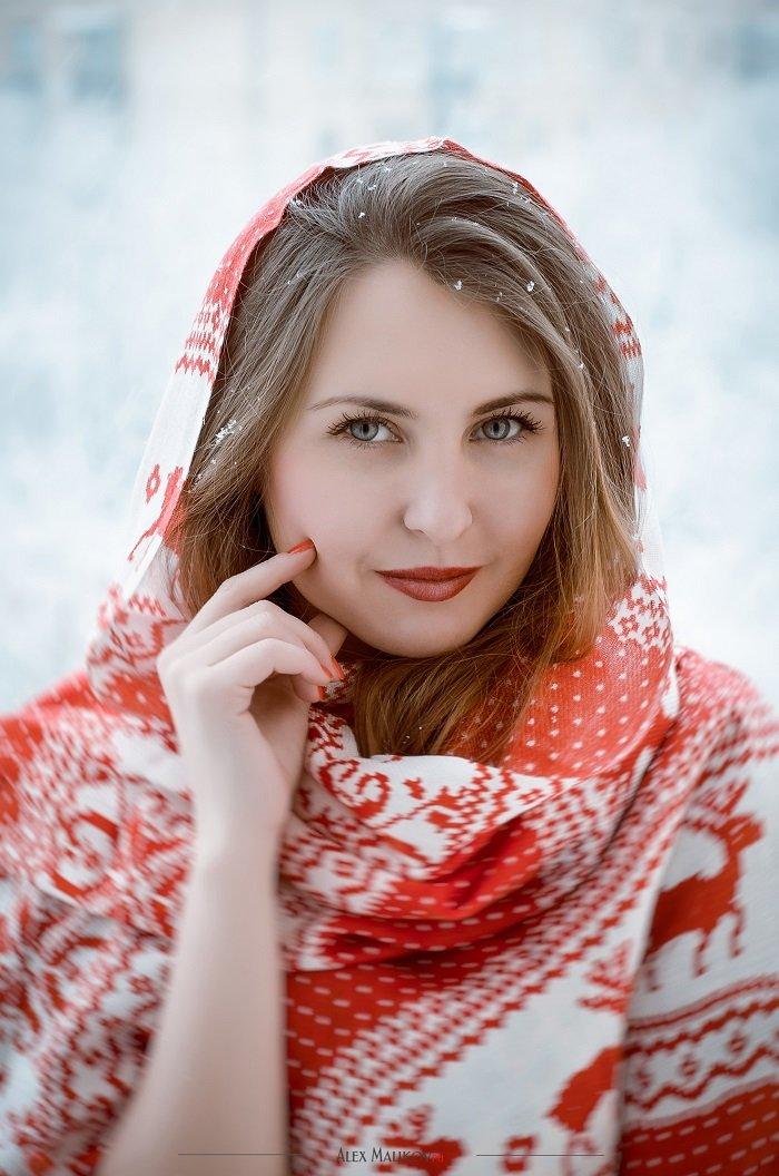 платок на голову зимой с шубой