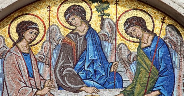 Mosaic over the entrance of the Holy Trinity Orthodox Church in Budva, Montenegro