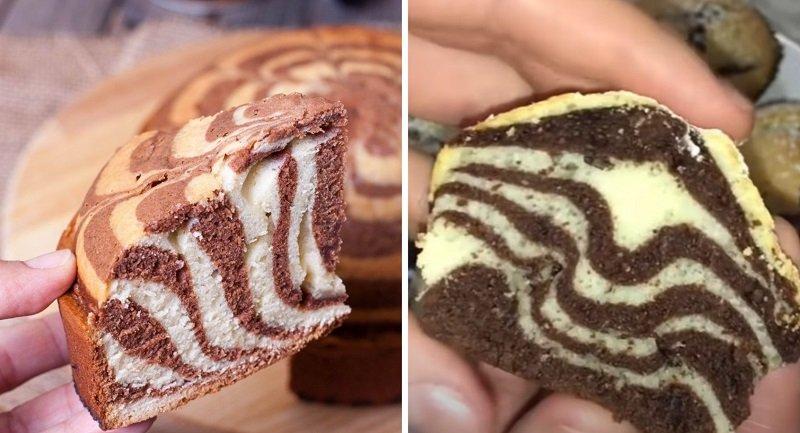 Кекс «Зебра» на сметане и какао в домашних условиях