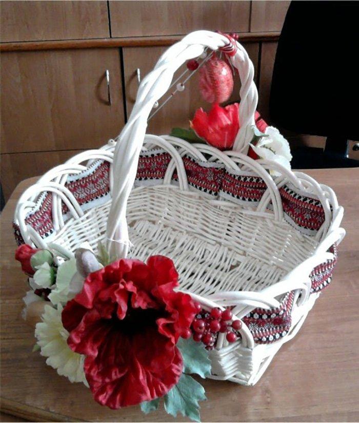 флористическое украшение на корзине