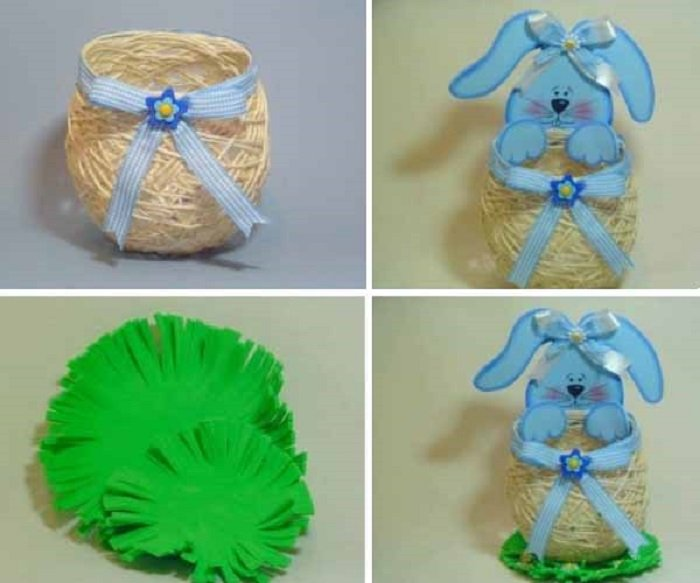 пасхальная корзинка с зайцами своими руками